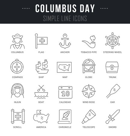 Collection linear icons of columbus day with names.