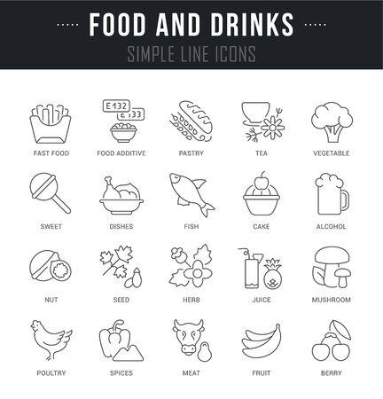 Lineare Ikonen der Sammlung von Speisen und Getränken mit Namen. Vektorgrafik