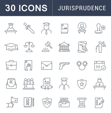 Set of line icons of jurisprudence for modern concepts, web and apps. Illusztráció