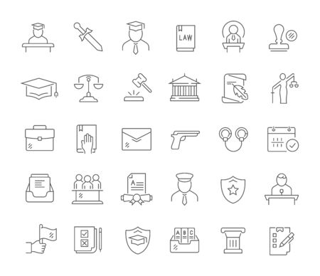 Set of line icons of jurisprudence for modern concepts, web and apps. Vectores