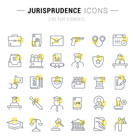 Set of line icons and signs with yellow squares of jurisprudence for excellent concepts. Illusztráció