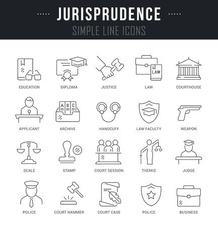 Collection linear icons of jurisprudence with names.