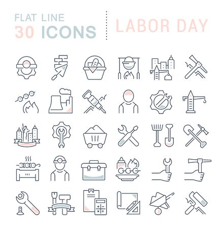 Set of line icons of labor day for modern concepts, web and apps.