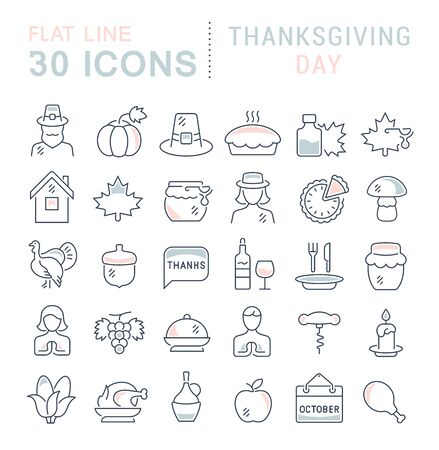 Set of line icons of thanksgiving day for modern concepts, web and apps.  イラスト・ベクター素材