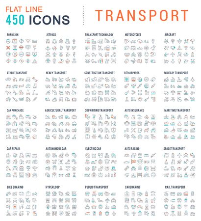Collection of linear transport icons. Water, air, military, sports, railway, space transport. Illustration