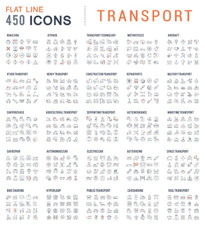 Collection of linear transport icons. Water, air, military, sports, railway, space transport.  イラスト・ベクター素材