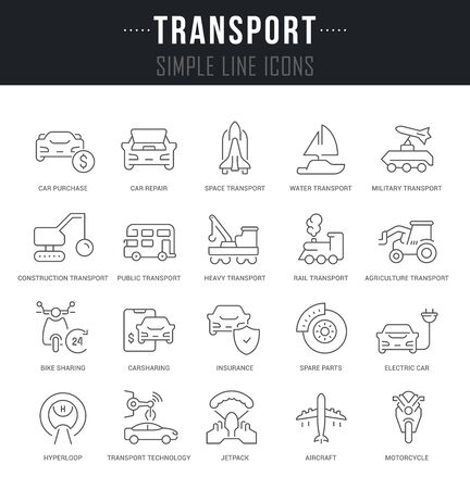 Collection linear icons of transport with names. Illustration