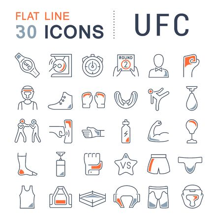 Set of line icons of ufc for modern concepts, web and apps.