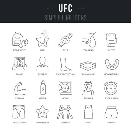 Collection linear icons of ufc with names. Illustration