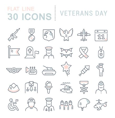 Set of line icons of veterans day for modern concepts, web and apps.  イラスト・ベクター素材