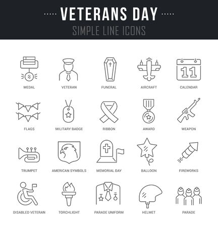 Collection linear icons of veterans day with names.
