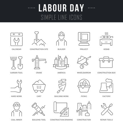 Collection linear icons of labour day with names.