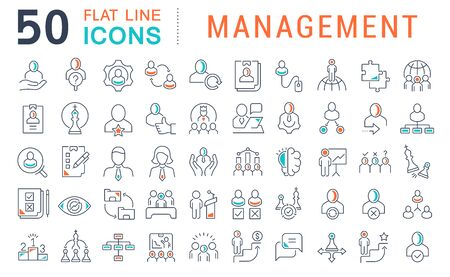 Set of vector line icons of management for modern concepts, web and apps.  イラスト・ベクター素材