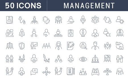 Set of line icons of management for modern concepts, web and apps.