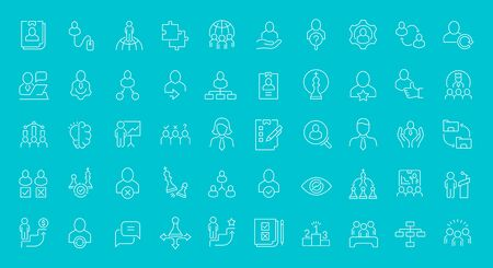 Set of vector line icons of management for modern concepts, web and apps. Illusztráció