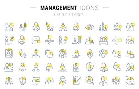 Set of line icons and signs with yellow squares of management for excellent concepts.  イラスト・ベクター素材