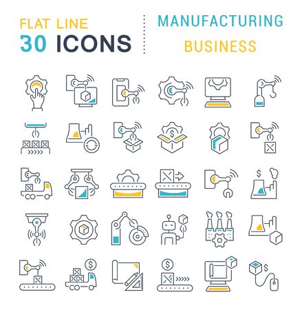 Set of line icons of manufacturing business for modern concepts, web and apps. Illusztráció