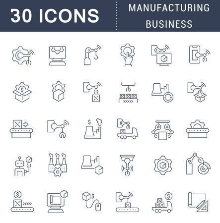 Set of line icons of manufacturing business for modern concepts, web and apps.  イラスト・ベクター素材
