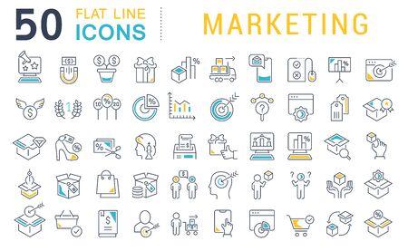 Set of line icons of marketing for modern concepts, web and apps. Vektoros illusztráció