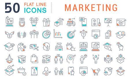 Reihe von Liniensymbolen des Marketings für moderne Konzepte, Web und Apps.