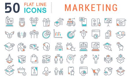 Set of line icons of marketing for modern concepts, web and apps.