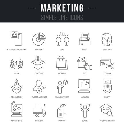 Collection linear icons of marketing with names.