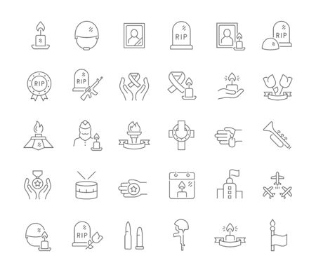 Set of line icons of memorial day for modern concepts, web and apps.  イラスト・ベクター素材