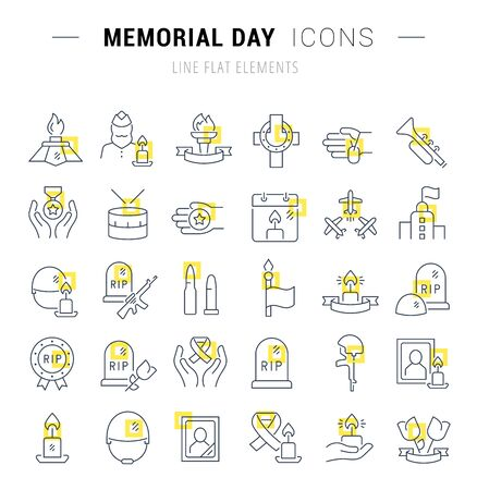 Set of line icons and signs with yellow squares of memorial day for excellent concepts.  イラスト・ベクター素材