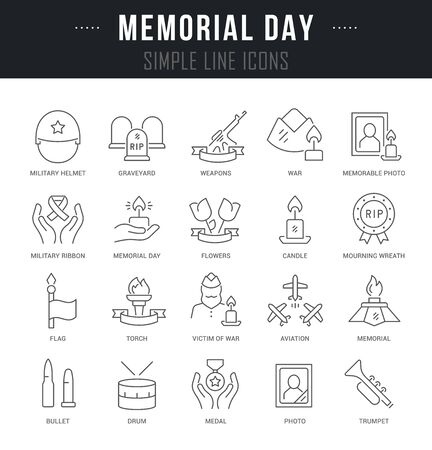 Collection linear icons of memorial day with names.  イラスト・ベクター素材