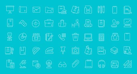 Set of line icons of office supplies for modern concepts, web and apps.