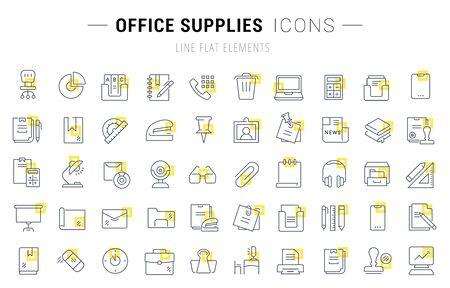 Ensemble d'icônes et de panneaux vectoriels avec des carrés jaunes de fournitures de bureau pour d'excellents concepts.