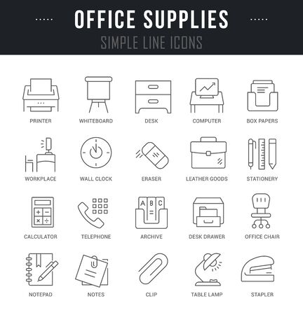 Collection linear icons of office supplies with names.