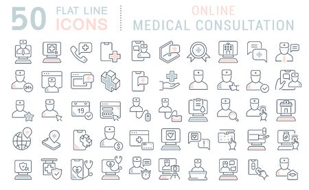 Set of line icons of online medical consultation for modern concepts, web and apps.