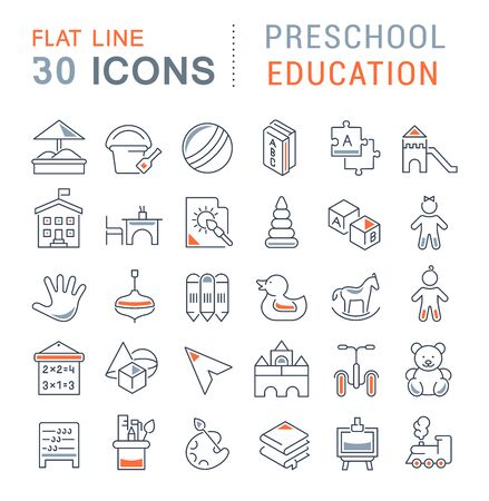 Set of line icons of preschool education for modern concepts, web and apps. Illusztráció