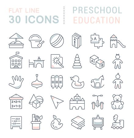Set of line icons of preschool education for modern concepts, web and apps. Illustration