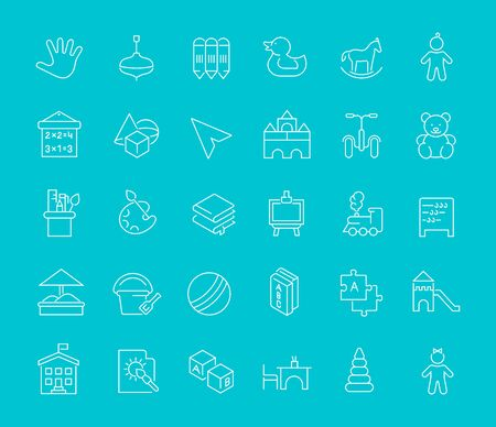 Set of line icons of preschool education for modern concepts, web and apps.  イラスト・ベクター素材