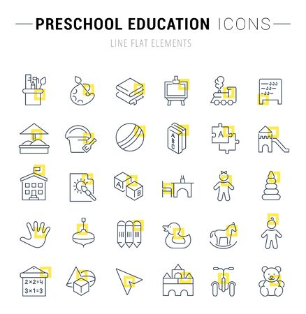 Set of line icons and signs with yellow squares of preschool education for excellent concepts.