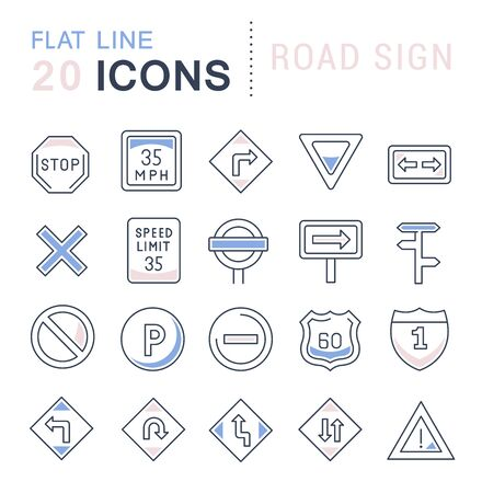 Set of line icons of road sign for modern concepts, web and apps.
