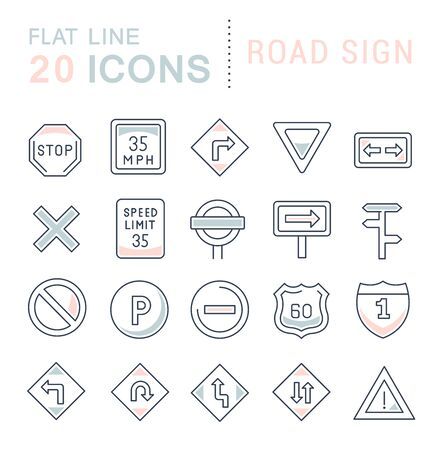Set of line icons of road sign for modern concepts, web and apps. Reklamní fotografie - 128829946