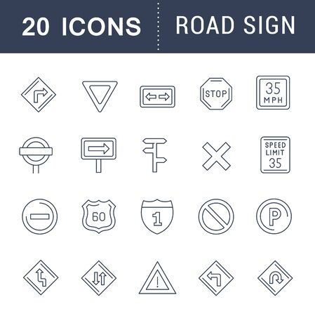 Set of vector line icons of road sign for modern concepts, web and apps.