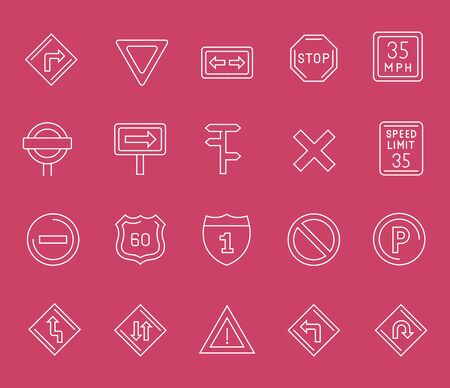 Set of line icons of road sign for modern concepts, web and apps. Reklamní fotografie - 128829954