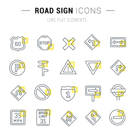 Set of  line icons and signs with yellow squares of road sign for excellent concepts.