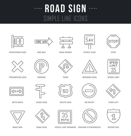 Collection linear icons of road sign with names.