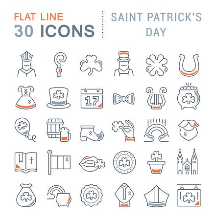 Set of line icons of saint patricks day for modern concepts, web and apps.  イラスト・ベクター素材