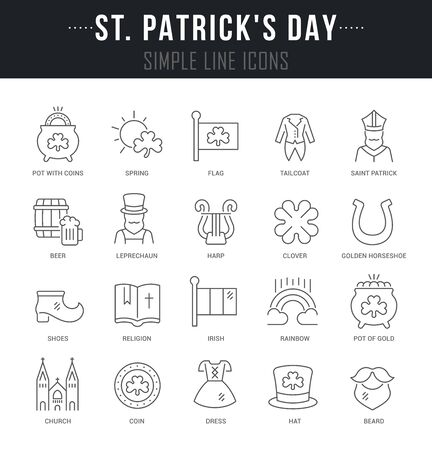 Collection linear icons of saint patricks day with names.  イラスト・ベクター素材