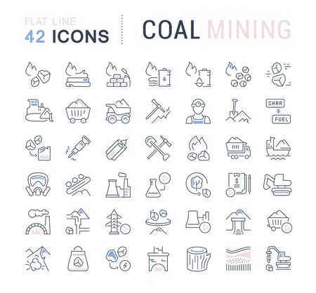Set of line icons of coal mining for modern concepts, web and apps.