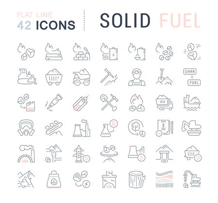 Set of line icons of solid fuel for modern concepts, web and apps.