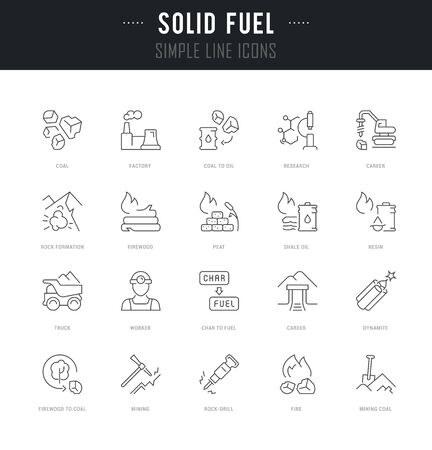Collection linear icons of solid fuel with names. Illustration