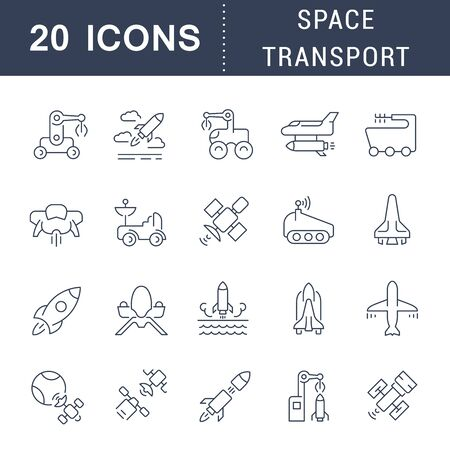 Set of line icons of space transport for modern concepts, web and apps.