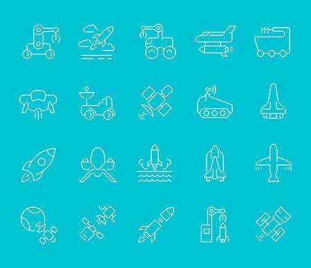 Ensemble d'icônes de ligne de transport spatial pour les concepts modernes, le Web et les applications.
